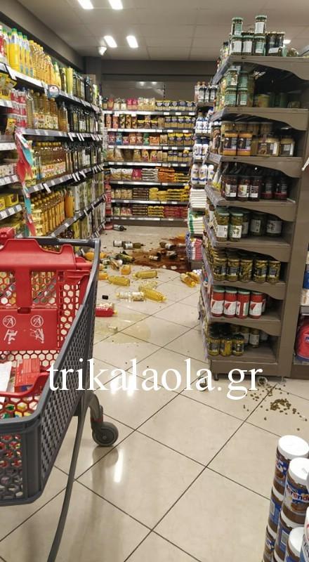 Zημιές σε σούπερ μάρκετ των Τρικάλων μετά τον σεισμό - πηγή trikalaola