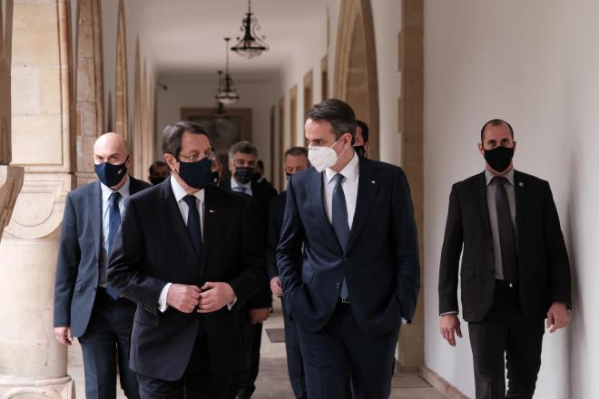 Εικόνα από την επίσκεψη Μητσοτάκη στην Κύπρο στις 8/2/21 - φωτογραφία Eurokinissi