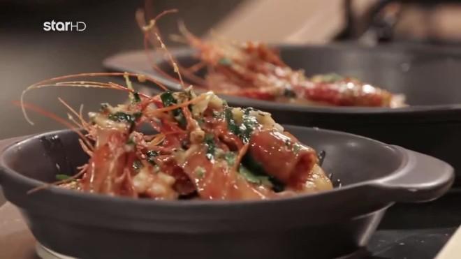 Γαρίδες Σαγανάκι  Συνταγή για 4 άτομα cook beef νικος θωμάς