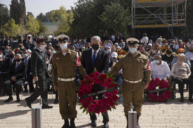Κατάθεση στεφάνου από τον Μπενιαμίν Νετανιάχου στο μνημείο του Ολοκαυτώματος στην Ιερουσαλήμ- φωτογραφία ΑΡ