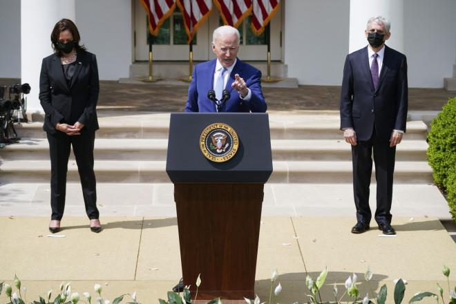O Tζο Μπάιντεν κατά την ομιλία του στον Κήπο των Ρόδων του Λευκού Οίκου- φωτογραφία ΑΡ