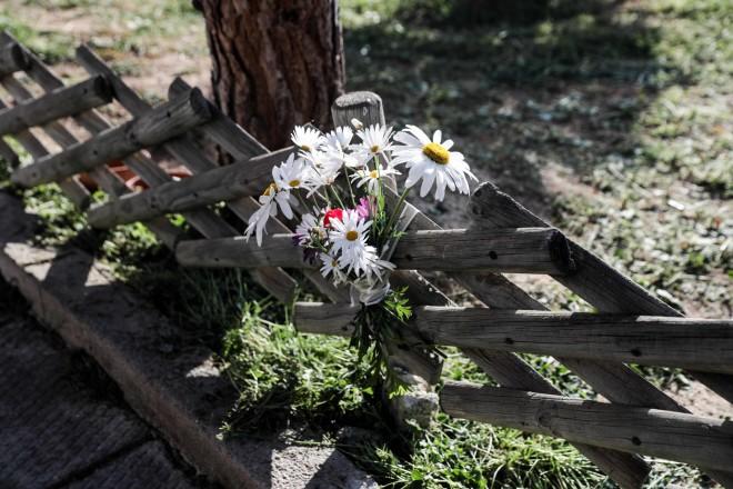 Oι γείτονες του Γιώργου Καραϊβάζ άφησαν λίγα λουλούδια στο σημείο όπου δολοφονήθηκε-φωτογραφία Eurokinissi