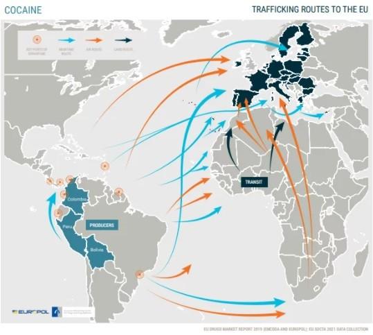 O χάρτης για τη διακίνηση ναρκωτικών στην Ευρώπη - Europol