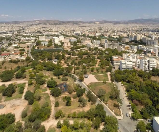 Αεροφωτογραφία από το σημείο όπου βρίσκεται η Ακαδημία Πλάτωνος