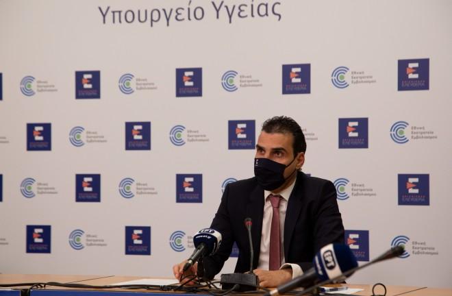 O γ.γ. του υπουργείου Υγείας, Μάριος Θεμιστοκλέους, κατά τη σημερινή ενημέρωση- φωτογραφία Eurokinissi
