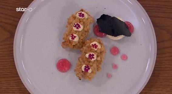 Brandade πεσκανδρίτσας με μαγιονέζα dashi, ponzu, gel κρεμμυδιού και τραγανή πάστα