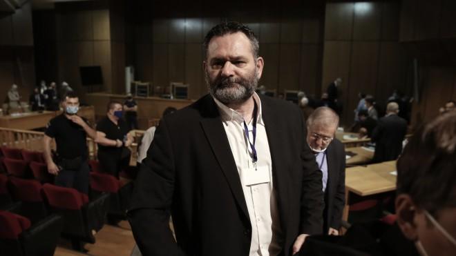 O ευρωβουλευτής Γιάννης Λαγός στη δίκη της Χρυσής Αυγής- φωτογραφία Eurokinissi
