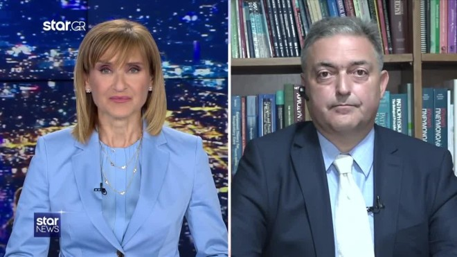 Mάρα Ζαχαρέα καιΘεόδωρος Βασιλακόπουλος στοκεντρικό δελτίο ειδήσεων του Star