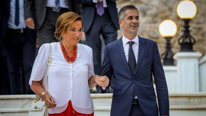 Ντόρα και Κώστας Μπακογιάννης στη δεξίωση στο Προεδρικό Μέγαρο για την 46η Επέτειο αποκατάστασης της Δημοκρατίας στις 24/7/20- φωτογραφία Eurokinissi