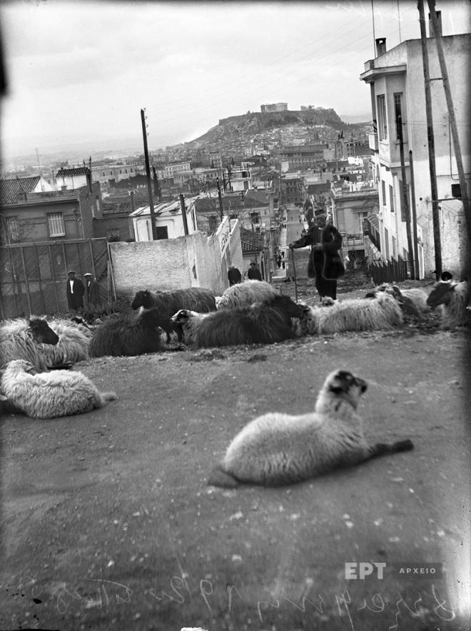 Αθήνα. Γενική άποψη της πόλης από το τέρμα της οδού Δημοκρίτου στο Κολωνάκι, ~1930. Φωτογραφία: Π.Πουλίδης / Αρχείο ΕΡΤ