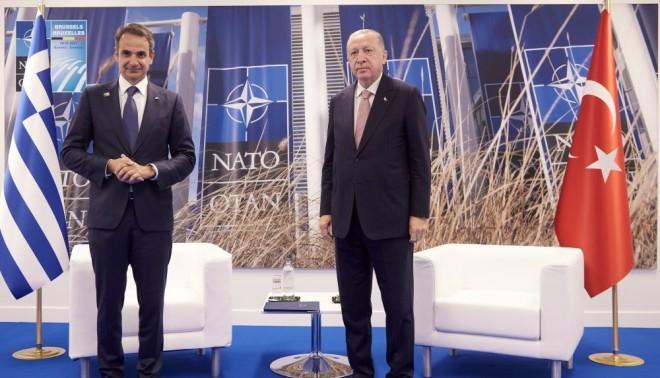 συνάντηση Μητσοτάκη - Ερντογάν στη σύνοδο κορυφής του ΝΑΤΟ στις Βρυξέλλες