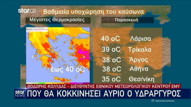 Οι υψηλές θερμοκρασίες στις πόλεις την Παρασκευή 2/7-κεντρικό δελτίο ειδήσεωνStar