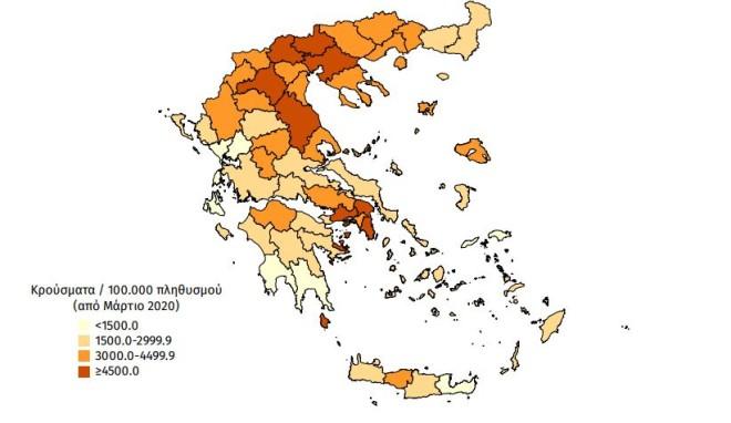 Χάρτης αθροιστικής επίπτωσης επιβεβαιωμένων κρουσμάτων COVID-19, 13 Ιουλίου 2021- πηγή ΕΟΔΥ