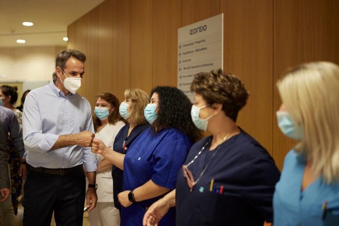 Κυριάκος Μητσοτάκης νοσηλεύτριες Νοσοκομείο Χαλκίδας