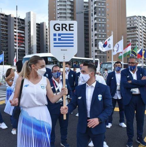 H Άννα Κορακάκη και ο Λευτέρης Πετρούνιας πριν την παρέλαση- φωτογραφία από instagramhellenic olympic committee