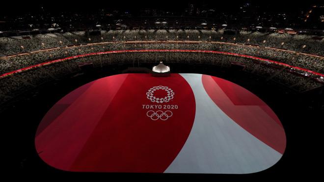 Στιγμιότυπο από την τελετή Έναρξης στοΕθνικό Ολυμπιακό Στάδιο της Ιαπωνίας- φωτογραφία ΑΡ