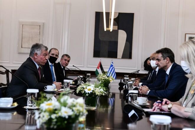 Ο Κυριάκος Μητσοτάκης στη συνάντηση με τον Βασιλιά της Ιορδανίας
