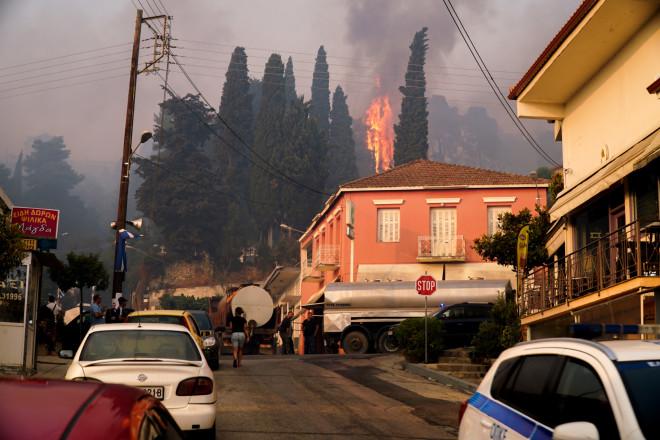 Εικόνα από το πύρινο μέτωπο στο Πελόπιο- Η φωτιά μια ανάσα από τα σπίτια/ φωτογραφία Eurokinissi