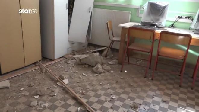 Ζημιές στο δημοτικό σχολείο Θραψάνου Ηρακλείου