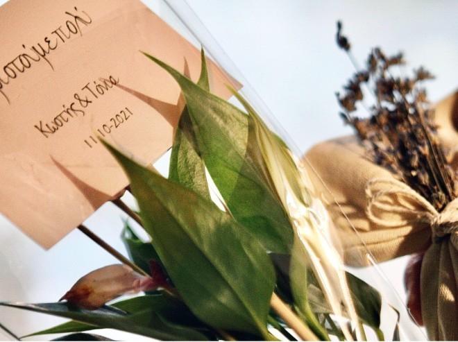 Η μπομπονιέρα του ζευγαριού ήταν πολύ όμορφη, όπως και το δώρο για τους καλεσμένους, μία μικρή γλάστρα με ένα πανέμορφο φυτό