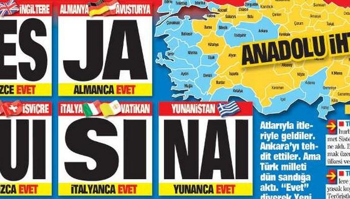 ΠΡΟΚΛΗΣΗ τουρκικής εφημερίδας: Πρωτοσέλιδο το ΝΑΙ στα ελλ