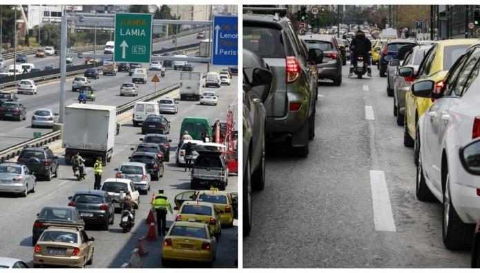 Κυκλοφοριακό χάος σε Εθνική και Αττική Οδό