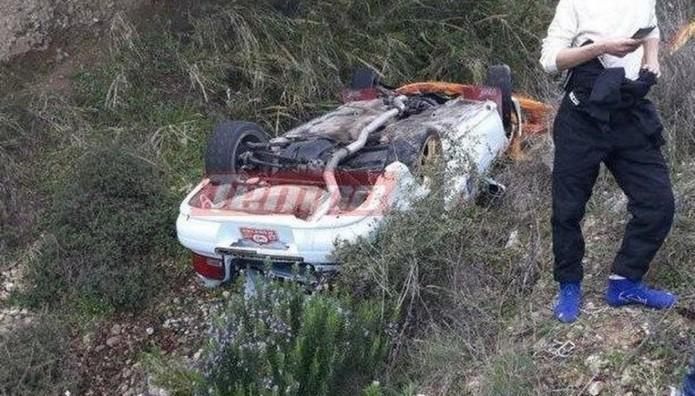 Ατύχημα στο 40ο Ράλι Αχαιός: Αυτοκίνητο έφυγε σε χαράδρα