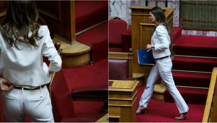 Η Έφη Αχτσιόγλου στη Βουλή