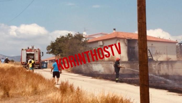 Απειλούνται Σπίτια  από φωτιά Στα Ίσθμια Κορινθίας