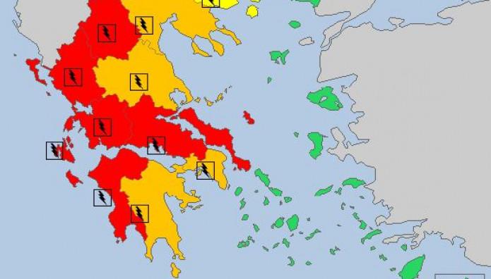 Meteoalarm: Σε κόκκινο συναγερμό η Ελλάδα
