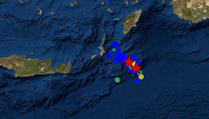χάρτης από το σημείο του σεισμού