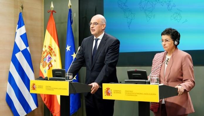 Νίκος Δένδιας με την Υπουργό Εξωτερικών της Ισπανίας